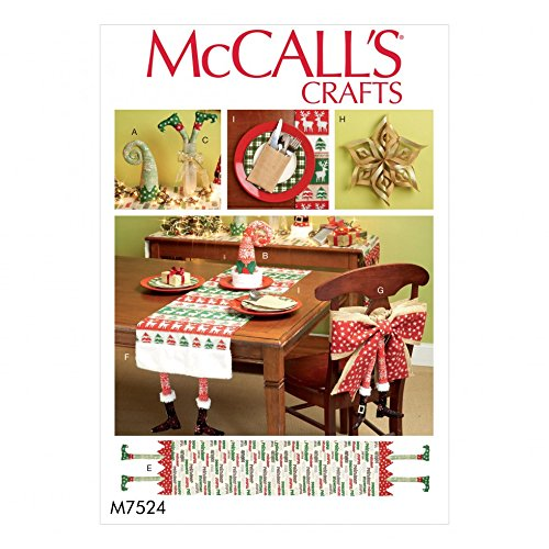 - McCalls Crafts Easy Sewing Pattern 7524 Christmas Table Runners, Chair Back Cover & Decorations