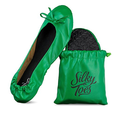 Silky Toes Women's Foldable Portable Travel Ballet Flat Roll Up Slipper Shoes with Matching Carrying Pouch (Small, Kelly Green)]()