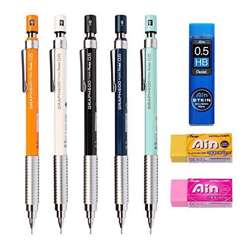 Pentel Mechanical Pencil Drafting Graph 600 0.5mm creator style (5 Colors)+2 Eraser + Ain Lead 1 Tube [並行輸入品] B07H1YYNBX