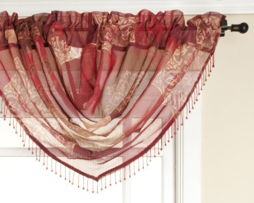 Renaissance Home Fashion Jasmine Tile Print Sheer Waterfall Valance, 47 by (Beaded Valance)