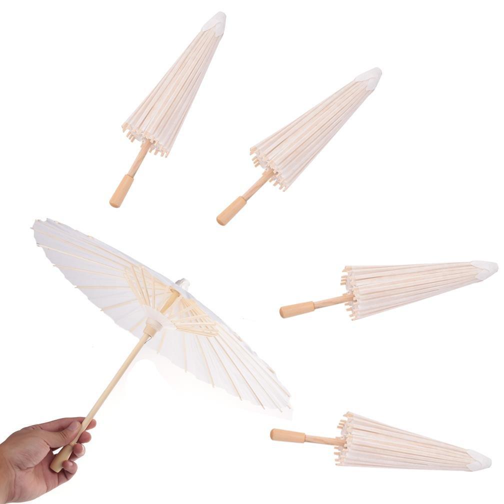 5 Pcs Paper Parasols Kids DIY Umbrella Projects Wedding Decoration Photo Prop by OBANGONG
