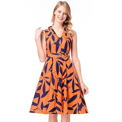 Gran De Un Y Una XIU Una Vestido RONG Para Con Impresiones Una yellow De Solapa Cantidad Mujer gWqHfv8w