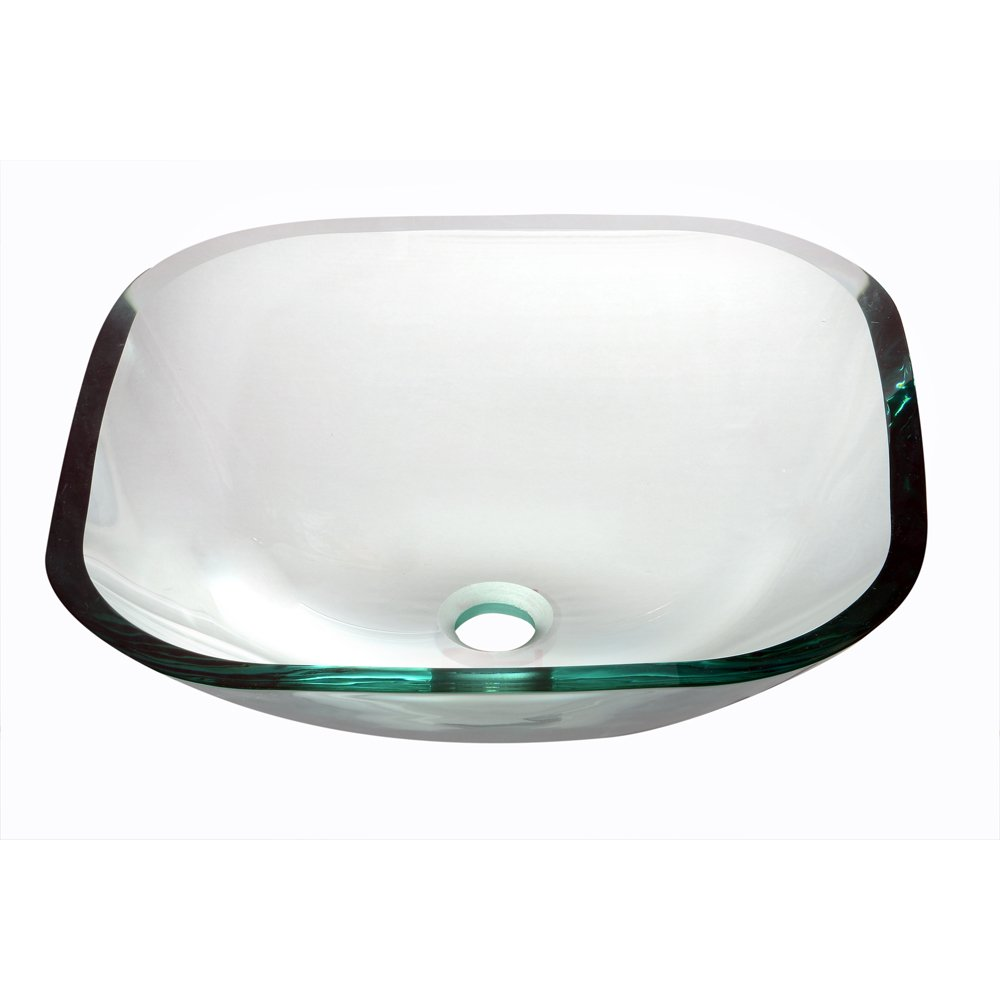 Dawn GVB84001 Tempered Glass Vessel Sink-Square Shape, Naturally Clear