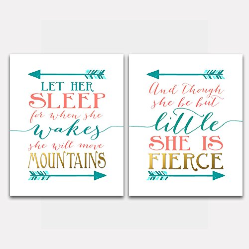 Nursery Wall Art - And though she be but little she is fierce and Let her sleep Teal Coral -