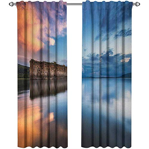 Price comparison product image Rustic,  Curtains Blackout,  Epic Long Exposure European Building in Dam with Water Historical Landmark Print,  Curtains for Party Decoration,  W84 x L84 Inch,  Orange Blue