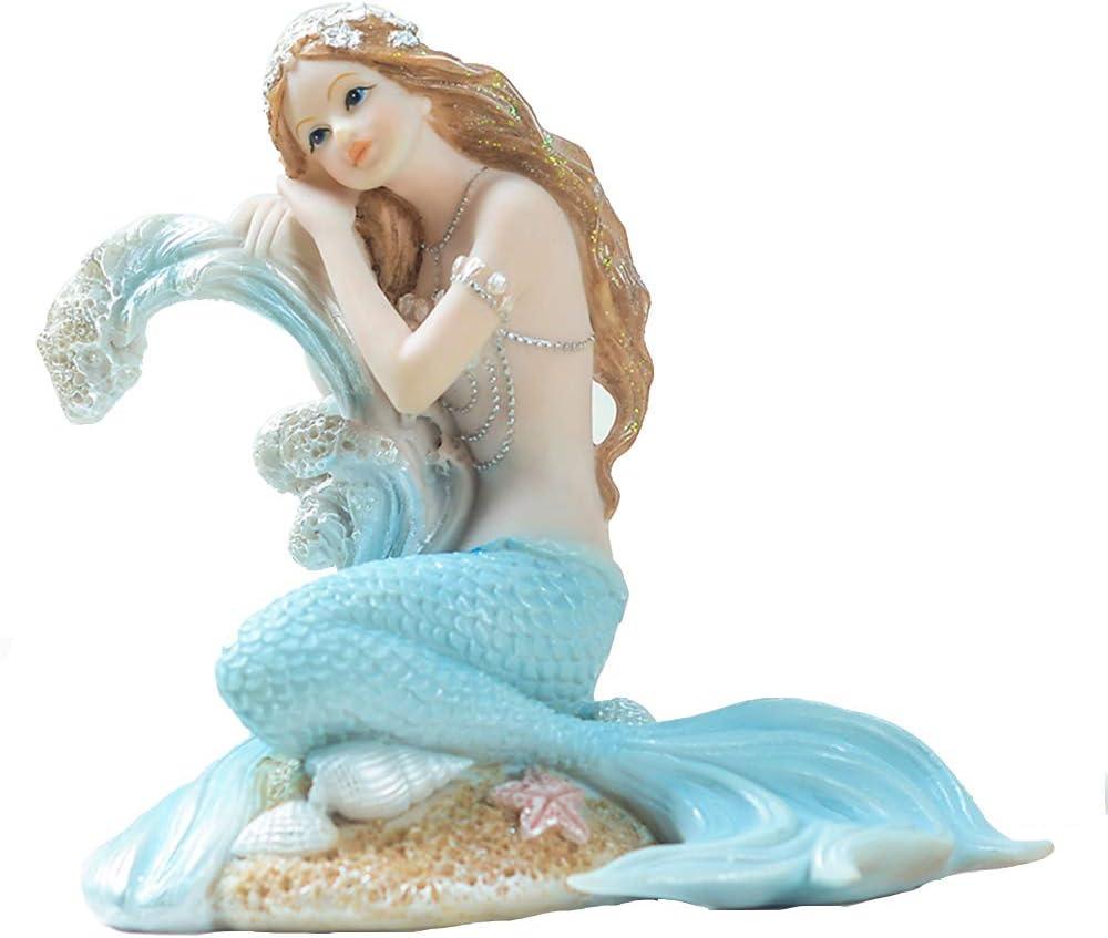 "Rayberro Mermaid Bathroom Decor,Mermaid Gifts for Girls 4.72"" Tall Room Shelf Resin Mediterranean Princess Statue Ornament Figurines Sculpture Angel Aquarium Home Crafts Collectible Ocean Sea Goddess"