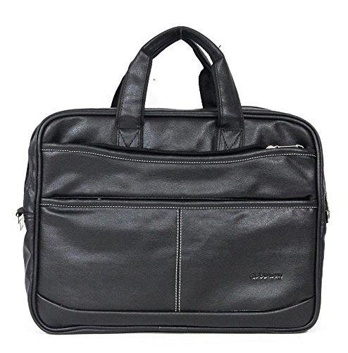 Hancuffs 12.5 Litres Slim Office Black leather bag For Men- 15.6 Inch