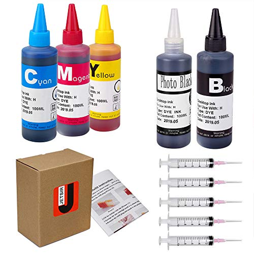(JetSir 5 Color Compatible Ink Refill Kit Use for HP 564 364 178 Inkjet Cartridge Refillable Cartridge CISS 100ML X5 (1 Black 1 Photo Black 1 Cyan 1 Magenta 1 yellow) with Syringe and instruction)