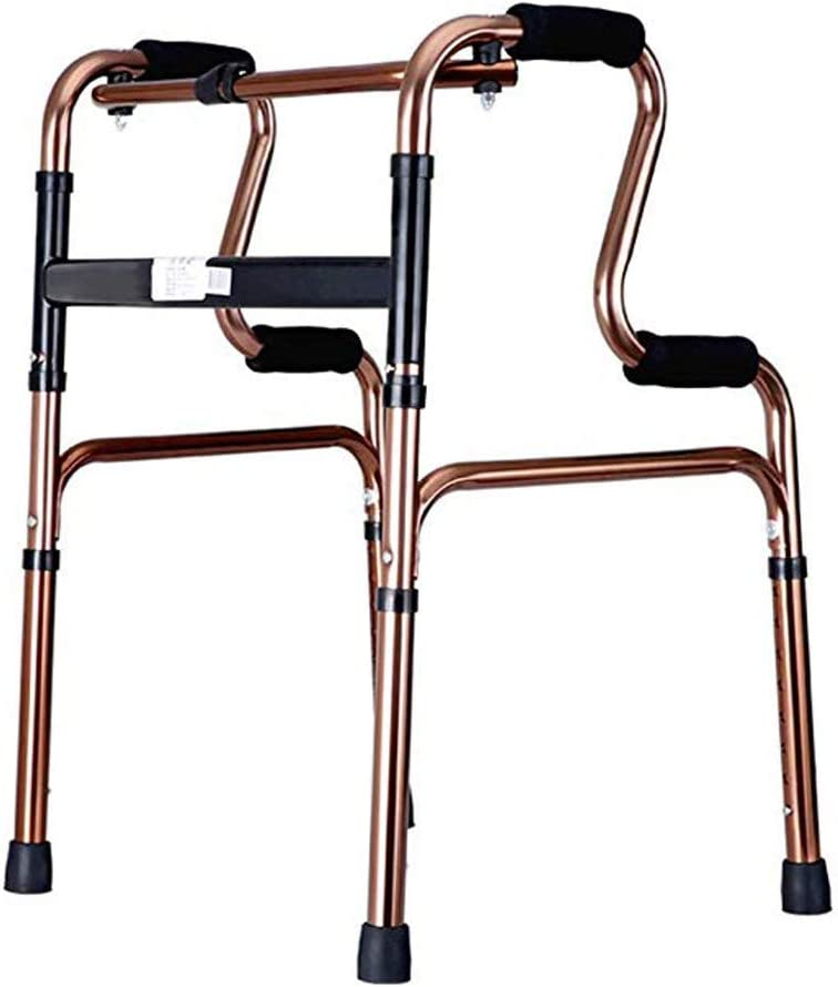 90GJ Disabled Walkers Are Lightweight, Non-Slip and Foldable. Older People Can Sit on Crutches with stools (Color: Brown)