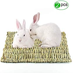 Lmlly Grass Mat, Natural Hay Woven Mats for Small Animals, Bunny Bedding Chew Toys, Perfect for Guinea Pig Parrot Rabbit Hamster