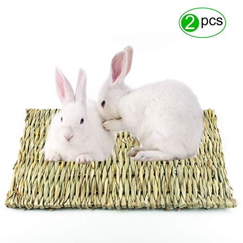 Lmlly Grass Mat, Natural Hay Woven Mats for Small Animals, Bunny Bedding Chew Toys, Perfect for Guinea Pig Parrot Rabbit Hamster ()