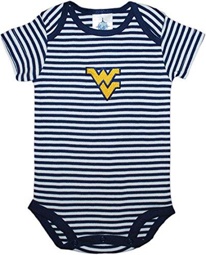 West Virginia University Mountaineers Newborn Striped Baby Bodysuit Navy 12 Months