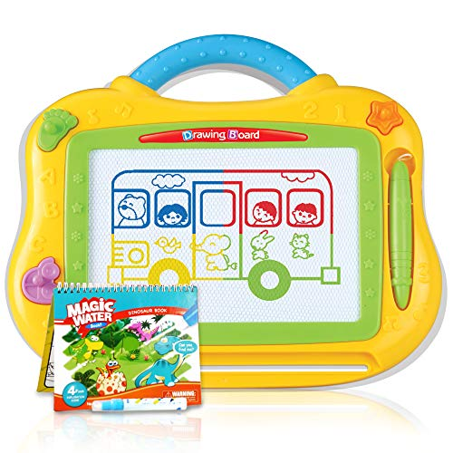 Athena Futures Kids Magnetic Drawing Board - Full Color - Travel Size - Includes Pen and 3 Fun Shaped Magnets for Doodles and Writing + Bonus Magic Water Dinosaur Book