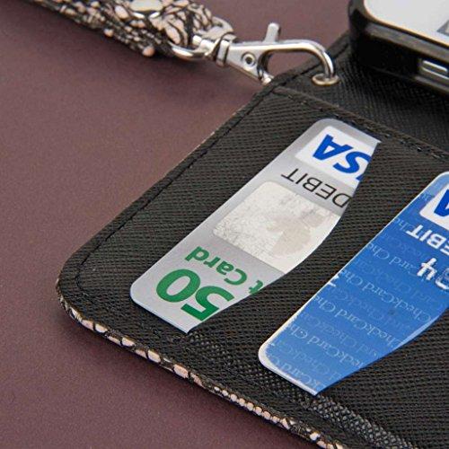MPERO FLEX FLIP Wallet Case Tasche Hülle for Apple iPhone 5 / 5S - Schwarz Lace