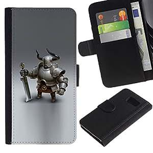 Paccase / Billetera de Cuero Caso del tirón Titular de la tarjeta Carcasa Funda para - Viking knight swordsman cgi graphics - Samsung Galaxy S6 SM-G920