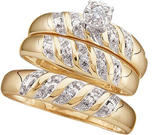 10kt Yellow Gold His & Hers Round Diamond Solitaire Matching Bridal Wedding Ring Band Set 1/12 Cttw by JawaFashion