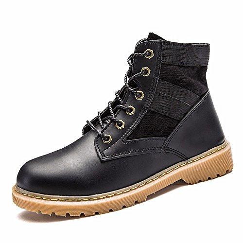 Tacón Negro zapatos Botas Grueso Correa Color Plano Martin Inferior De Hombre Cuero Sólido Tyaw gZOawdXxqq