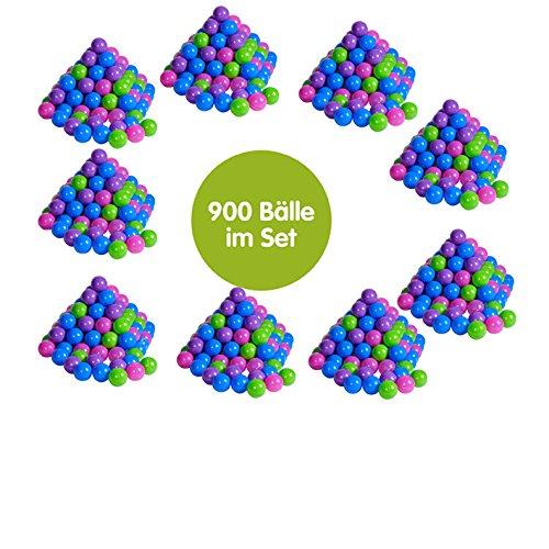 Knorrtoys 56796 - Bälleset - 900 Plastikbälle/ Bälle für Bällebad in Pastellfarben; im Netz zu je 100 Stck. , 6 cm Durchmesser, ohne gefährliche Weichmacher, TÜV-Rheinland Testbericht v. April 2016