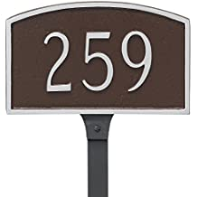 """Montague Metal Prestige Arch Petite Address Sign Plaque with Lawn Stake, 5.5"""" x 9"""", Black/Silver"""