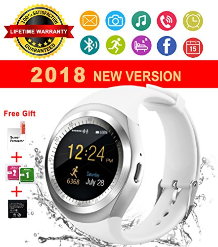 Bluetooth Smart Watch Touch Screen Waterproof Smartwatch Unlocked Phone Smart Wrist Watch With Sim Card Slot Sports Smart Watches For Android Smartphone Samsung IOS Iphone 6s 7 8 X Sony Men Women Kids by IFUNDA