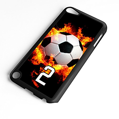 iPod Touch Case Fits 6th Generation or 5th Generation Soccer Ball #7400 Choose Any Player Jersey Number 2 in Black Plastic Customizable by TYD Designs