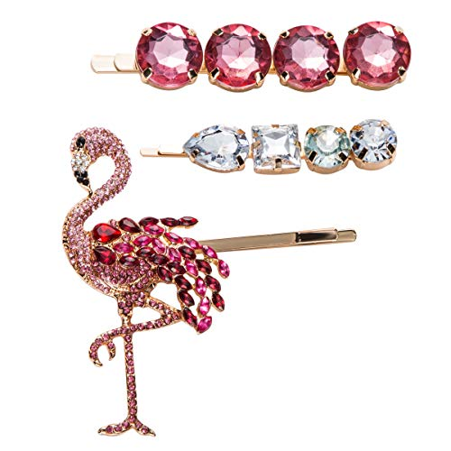 Flamingo and Jewel Hair Pin Accessories, Set of 3