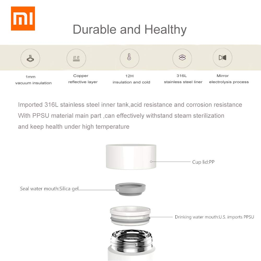Xiaomi 17oz Mi Vacuum Flask 316L Stainless Steel Leak Proof Sports Water Bottle 12 Hours Warm//Cold Keeping Thermos 500ML Portable Insulated Travel Mug Perfect Gift for Kids Women Men Xiaomi Shenzhen