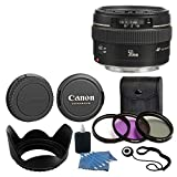 Canon EF 50mm f/1.4 USM Standard & Medium Telephoto Lens for Canon SLR Camera With 3 Piece Filter Kit (UV-CPL-FLD) + Lens Cleaning Kit