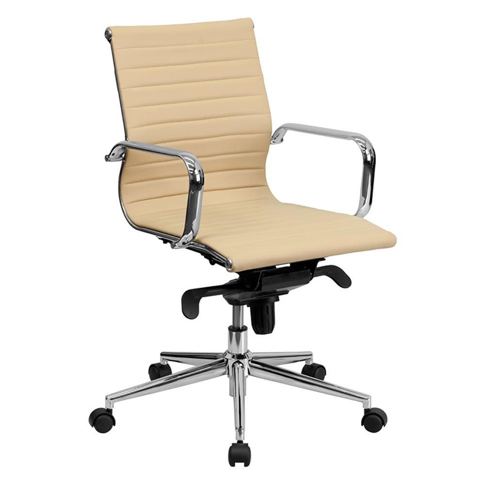 Flash Furniture BT-9826M-BK-GG Mid-Back Black Ribbed Upholstered Leather Conference Chair