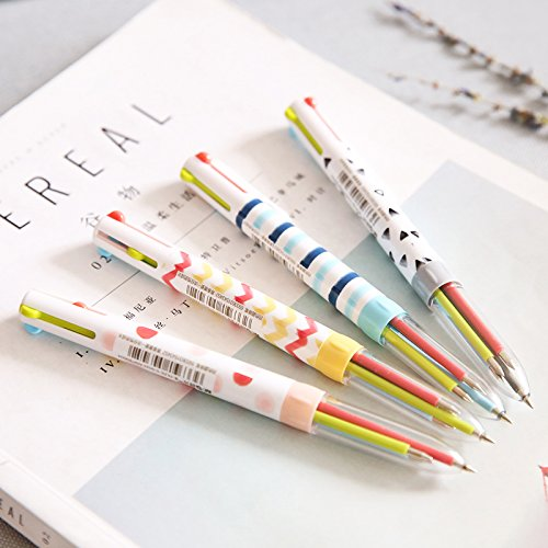 12 pcs/Lot Cute stripe ballpoint pen Multi color 0.5mm ball point pens Four color caneta Stationery Office by Office & School Supplies YingYing (Image #1)