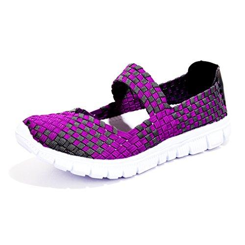Poplover Zapatos Deportivos para Mujer Ligeras Tejidas Resistentes Al Agua Mocasines de Malla Elastic Zapatillas 35-43 Púrpura
