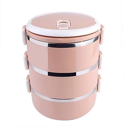 Fiambrera térmica de plástico rosa de acero inoxidable para comida caliente, portátil, para niños, adultos, escuela, picnic