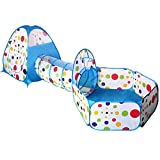 Kids Play tents,Sanmersen Kids Indoor Outdoor Play Tent Tunnel Set 3 in 1 Ball Pit Tent with Zippered Storage Bag(Blue)