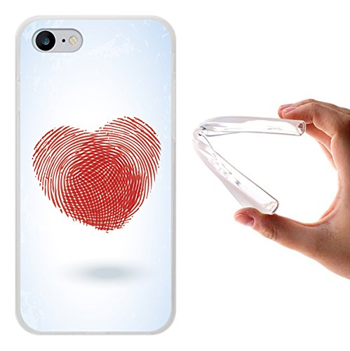 iPhone 8 Hülle, WoowCase Handyhülle Silikon für [ iPhone 8 ] Fingerabdruck Herz Handytasche Handy Cover Case Schutzhülle Flexible TPU - Transparent