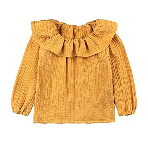 Little Girls Blouse Cotton Linen Blend Long Sleeve Lotus Leaf Collar 1-5 Years (Yellow, 80 (9-12 Months))