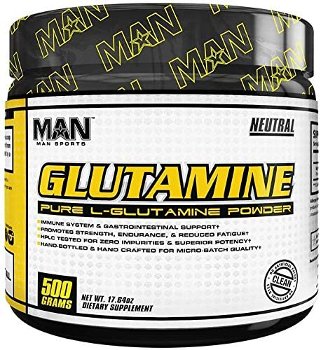 Man Sports L-Glutamine. Glutamine Powder for Sore Muscles, Immune Support and Muscle Recovery 100 Servings