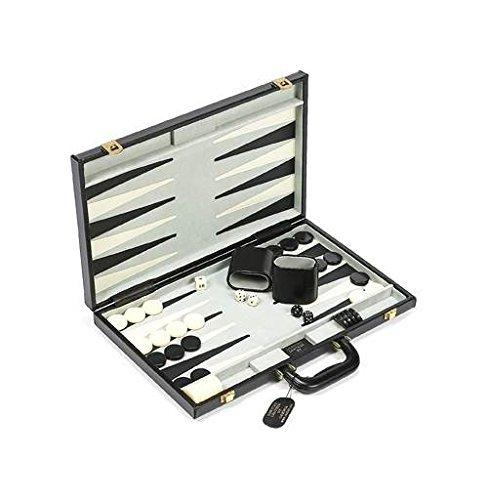Black & Grey Finish Backgammon Game Set w Leather Case