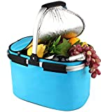 YONOVO 32 L Folding Picnic Basket Insulated Cooler Bag for Family Gathering Camping Travel BBQ (Skyblue)