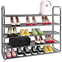 Simple Assembly 5 Tiers 25 Pairs Non-Woven Fabric Shoe Rack with Handle Tower Storage Organizer Cabinet Adjustable Shoes Shelf Tower Metal Tall for Closet with Spare Parts,DIY