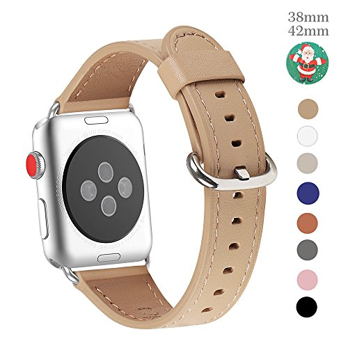 Apple Watch Band 42mm, WFEAGL Retro Top Grain Genuine Leather Band with Stainless Steel Clasp for iWatch Series 3,Series 2,Series 1,Sport, Edition (42mm Camel Band+Silver Buckle)