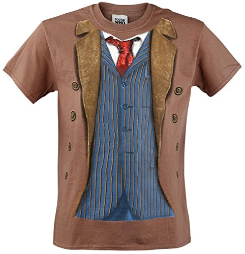 Doctor Who Classic Mens T-Shirt 10Th Doctor Costume Brown M -