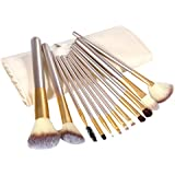 PrettyDiva 12pcs/set Wooden Makeup Brush Set With Leather Travel Pouch Foundation Cosmetics Tool Kabuki Brushes Kit - Champagne