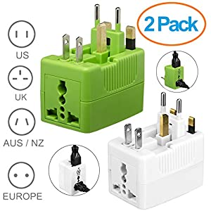 Yubi Power International Worldwide Universal Ac Travel Adapter 2 Universal Sockets Covering More Than 150 Countries - Us, Uk, Eu, Au - 2 Pack White & Green