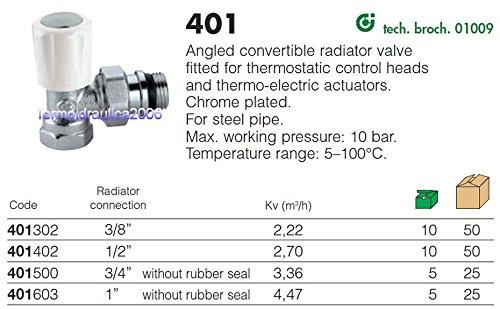 V/álvula termostatizable escuadra 3//8 para toma hierro Caleffi 401