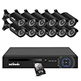 Zclever 16 Channel Security Camera System, 16 Channel Hybrid DVR Recorder with Hard Drive 2TB and 12pcs 720p Surveillance Bullet Camera Outdoor Indoor with Day Night Vision