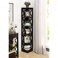 Convenience Concepts Oxford 5-Tier Corner Bookcase, Espresso