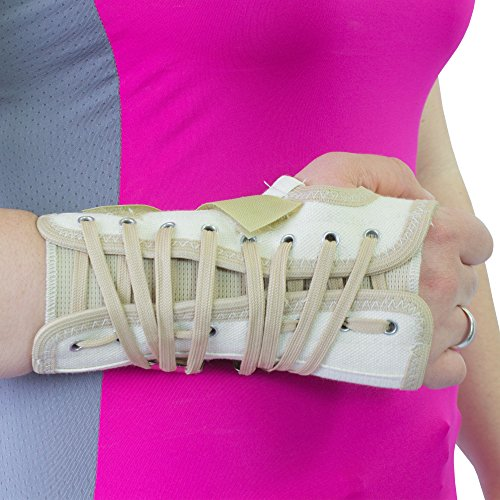 Wrist Lace Splint - Beige Canvas Cock-Up Lace Wrist Carpal Tunnel Splint Brace Support 8623 8624 (XS, Right)