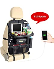 Yinleader Car Organiser PU Waterproof Seat Back Protectors 4 USB Charge Ports iPad Mini Holder Multi Pockets Including Tissue Box tray platform (With table)