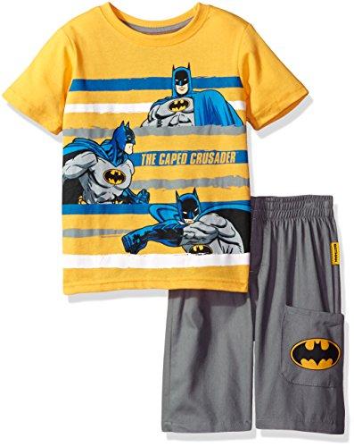 Warner Brothers Little Boys  2 Piece Batman Tee and Twill Short Set, Yellow, 6