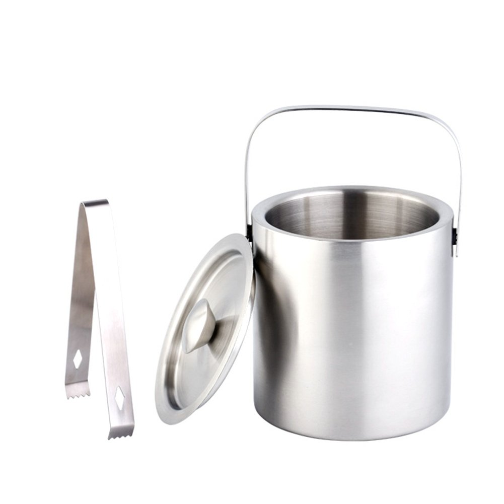 Insulated Ice Bucket, Large 1.3L Capacity Insulated Double Walled Stainless Steel Ice Bucket With Tongs and Lid, for Miniature Bar Accessory